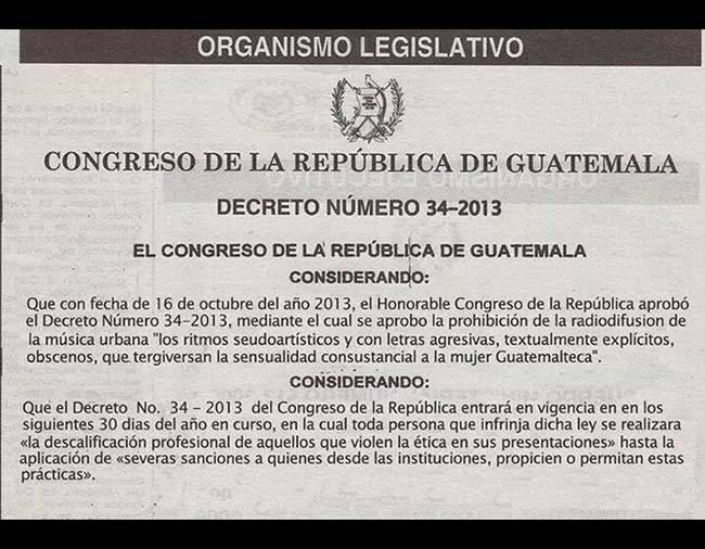 Prohíben escuchar reggaetón en Guatemala.
